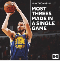 Klay just snapped for 14 threes 🔥🔥: KLAY THOMPSON  DIN  MOST  THREES  MADE IN  A SINGLE  GAME  SEN ST  ARRIO  B R Klay just snapped for 14 threes 🔥🔥