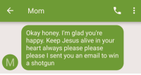 Alive, Jesus, and Email: KMom  Okay honey. I'm glad you're  happy. Keep Jesus alive in your  heart always please please  please I sent you an email to win  M a shotgun