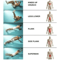 planking: KNEES UP  CRUNCH  LEGS LOWER  PLANK  SIDE PLANK  SUPERMAN
