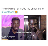 Roll Safe: Knew Marcel reminded me of someone  #Lovelsland  FOLLOW YounGKinGSTV  veisand
