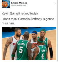 "Who remembers the ""Honey Nut Cheerios"" incident?   Or more accurately, ""The time Kevin Garnett talked trash and Melo knocked him out of the playoffs."" -Tommy: Knicks Memes  @Knicks Memes  Kevin Garnett retired today.  I don't think Carmelo Anthony is gonna  miss him Who remembers the ""Honey Nut Cheerios"" incident?   Or more accurately, ""The time Kevin Garnett talked trash and Melo knocked him out of the playoffs."" -Tommy"