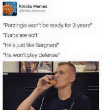 "Kristaps Porzingis proved just about ALL the haters wrong #PassTheTea #ThisTeaTho -Tommy  New York Knicks Memes: Knicks Memes  s @Knicks Memes  ""Porzingis won't be ready for 3 years""  ""Euros are soft""  ""He's just like Bargnani""  ""He won't play defense"" Kristaps Porzingis proved just about ALL the haters wrong #PassTheTea #ThisTeaTho -Tommy  New York Knicks Memes"