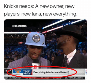 New York Knicks, Memes, and Blazers: Knicks needs: A new owner, new  players, new fans, new everything.  @NBAMEMES  BOBBY MARKS  217  TEAM  NEEDS Everything (starters and bench)  KNICKS  RD1  DER 21. THUNDER  25. TRAIL BLAZERS  ers  COMTDO Knicks just need to start over. https://t.co/nUTz98quCq