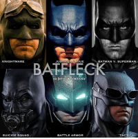 Batman, Memes, and Squad: KNIGHTMARE  JUSTICE LEAGUE  BATMAN V. SUPERMAN  BATELECK  IGOTHEBATBRAND  SUICIDE SQUAD  BATTLE ARMOR  TACTICAL Which is your favorite cowl?
