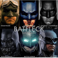 Batman, Memes, and Squad: KNIGHTMARE  JUSTICE LEAGUE  BATMAN V. SUPERMAN  G OTHEBATBRAND  SUICIDE SQUAD  BATTLE ARM R  TACTICAL Which cowl is your favorite? By @thebatbrand ! dc dccomics dceu dcu dcrebirth dcnation dcextendeduniverse batman superman manofsteel thedarkknight wonderwoman justiceleague cyborg aquaman martianmanhunter greenlantern theflash greenarrow suicidesquad thejoker harleyquinn comics injusticegodsamongus