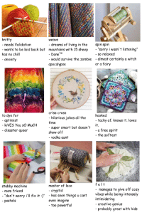 "bookshelfdreams:tag urself: fibre crafts edition: knitty  weave  needs Validation  dreams of living in the  spin spin  wants to be laid back but mountains with 15 sheep ""sorry i wasn't listening""  DoneTM  would survive the zombie  so relaxed  -almost certainly a witch  or a fairy  has no chill  anxiety  apocalypse  criss cross  to dye for  - optimist  hooked  hilarious jokes all the  time  - super smart but doesn't  show off  - vodka aunt  tacky af. knows it. loves  it.  - a free spirit  - the softest  loVES You sO MuCH  disaster queer  stabby machine  master of lace  felt  mom friend  don' t worry i'll fix it  pastels  manages to give off cozy  - has seen things ucantvibes while being intensely  cryptid  intimidating  - creative genius  even imagine  too powerful  probably great with kids bookshelfdreams:tag urself: fibre crafts edition"