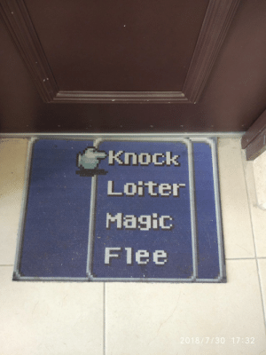 Neighbors, Today, and New: Knock  Loiter  Flee  7/30 17:32 My neighbors bought a new rug today.