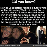 Neville is all grown up 🤗 ⚡️ awesome engaged harrypotter ➡📱 Download our free App: [LINK IN BIO]: know?  did you know?  Neville Longbottom found his future wife  at The Wizarding World of Harry Potter.  In January 2016, actor Matthew Lewis  met event planner Angela Jones during  a Harry Potter celebration at Universal  Studios, they hit it off right away, and  he proposed to her in front of the Eiffel  Tower almost a year later.  DIDYOUKNOWBLOG.coM  PHOTO: GETTYITWITTERIM  RROR.CO.UK Neville is all grown up 🤗 ⚡️ awesome engaged harrypotter ➡📱 Download our free App: [LINK IN BIO]