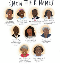 Memes, Teacher, and Charleston: KNOW THEIR NAMES  Cynthin Hurd, 54  wanza Sander,2G  Rev. Shared.  Rev. Clem  4S  Coleman  pastor  state senator  track unch  Ren. Daniel  Susie  Four  My a Thompson  Ethel Lee Lanu,7  teacher Rip to those murdered two years ago in Charleston. -Yasmine