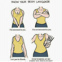 Friends, Memes, and 🤖: KNOW YOUR BODY LANGUAGE  I'm interested in you.  I'm not interested in you.  Let's just be friends.  STOP STARING AT MY