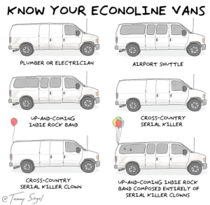 Vans, Clowns, and Cross: KNOW YOUR ECONOLINE VANS  PLUMBER OR ELECTRICIAN  AIRPORT SHUTTLE  UP-AND-COMING  INDLE ROCK BAND  CRoSs-COUNTRY  SERIAL KILLER  CRosS-COUNTRY  SERIAL KILLER CLOWN  UP-AND-COMING INDLE ROCK  BAND COMPOSED ENTIRELY OF  SERIAL KILLER CLOWNS know your econoline vans [OC]