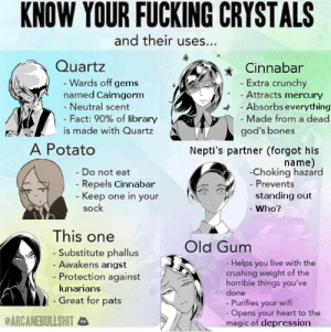[HnK manga] Meme to encourage anime-onlys to read the source material (contains minor spoilers): KNOW YOUR FUCKING CRYSTALS  and their uses...  Quartz  - Wards off gems  named Cairngorm  - Neutral scent  - Fact: 90% of library  is made with Quartz  Cinnabar  - Extra crunchy  - Attracts mercury  A - Absorbs everything  -Made from a dead  god's bones  A Potato  Nepti's partner (forgot his  name)  -Choking hazard  - Prevents  - Do not eat  - Repels Cinnabar  - Keep one in your  sock  standing out  - Who?  This one  Old Gum  - Substitute phallus  - Awakens angst  - Protection against  - Helps you live with the  crushing weight of the  horrible things you've  done  - Purifies your wifi  - Opens your heart to the  magic of depression  lunarians  - Great for pats  eARCANEBULLSHITa [HnK manga] Meme to encourage anime-onlys to read the source material (contains minor spoilers)