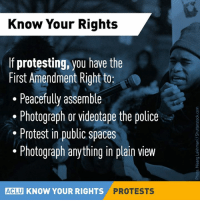 Memes, Police, and Protest: Know Your Rights  If protesting, you have the  First Amendment Right to  Peacefully assemble  Photograph or videotape the police  Protest in public spaces  Photograph anything in plain view  ACLU KNOW YOUR RIGHTS  PROTESTS Important reminder.