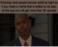 Meme, Reddit, and True: Knowing most people browse reddit at night so  if you make a meme that is edited so its easy  on the eye you will get more than 30 upvotes Its true.