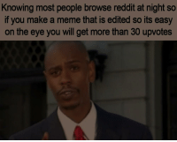 Meme, Reddit, and Eye: Knowing most people browse reddit at night so  if you make a meme that is edited so its easy  on the eye you will get more than 30 upvotes Modern problems require modern solutions