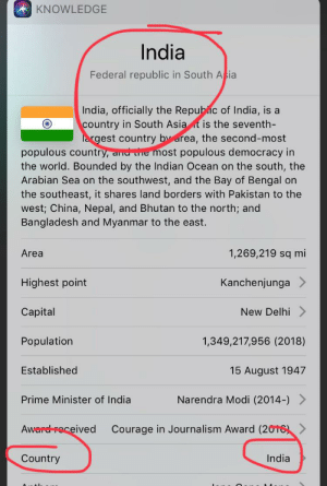 I searched India population: KNOWLEDGE  India  Federal republic in South Asia  India, officially the Republic of India, is a  country in South Asia t is the seventh-  largest country by area, the second-most  populous country, and e most populous democracy in  the world. Bounded by the Indian Ocean on the south, the  Arabian Sea on the southwest, and the Bay of Bengal on  the southeast, it shares land borders with Pakistan to the  west; China, Nepal, and Bhutan to the north; and  Bangladesh and Myanmar to the east.  1,269,219 sq mi  Area  Highest point  Kanchenjunga  New Delhi  Capital  Population  1,349,217,956 (2018)  Established  15 August 1947  Narendra Modi (2014-) >  Prime Minister of India  Courage in Journalism Award (2016) >  Award roceived  India  Country I searched India population