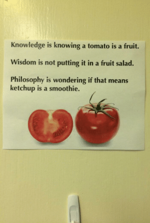 Philosophy, Knowledge, and Wisdom: Knowledge is knowing a tomato is a fruit.  Wisdom is not putting it in a fruit salad.  Philosophy is wondering if that means  ketchup is a smoothie. Hmmmmmmmmmmm