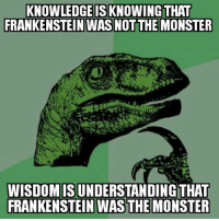Homeless, Memes, and Monster: KNOWLEDGE ISKNOWING THAT  FRANKENSTEIN WAS NOTTHE MONSTER  WISDOMISUNDERSTANDINGTHAT  FRANKENSTEIN WAS THE MONSTER My summary: At least 30% of the book is Frankenstein reminiscing about how great his youth was, 50% is spent in fevers - inventing fevers or actual fevers - and the remaining 20% is a cat-and-mouse chase between Frankenstein and his monster. The Homeless Network
