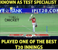 Memes, Run, and Sports: KNOWN AS TEST SPECIALIST  SPORTS 2Ho  YE: BANK  PLT 20,COM  TROLL  CRICKET  102  AMLA  P 193-4  AXAR  OVERS 19.2  CURRENT RUN RATE  998  MALINGA 0-53  PLAYED ONE OF THE BEST  T20 INNINGS All Hail King Hash.  Maiden T20 century for Amla.