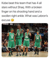 Celtic, Funny, and Shaq: Kobe beat this team that has 4 all  stars without Shaq. With a broken  finger on his shooting hand and a  swollen right ankle. What was Lebron's  excuse  ADSISIS 20  ELTI  CELTI  20  IT  CELTIC 🧐🧐🧐🧐