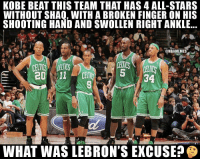 Memes, Shaq, and Kobe: KOBE BEAT THIS TEAM THAT HAS 4 ALL-STARS  WITHOUT SHAQ, WITH A BROKEN FINGER ON HIS  SHOOTING HAND AND SWOLLEN RIGHT ANKLE  @NBAMEMESİ  5 34  WHAT WAS LEBRON'S EXCUSE? 🤔🤔🤔 https://t.co/zfZGz4ZO21