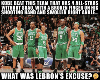 Nba, Shaq, and Kobe: KOBE BEAT THIS TEAM THAT HAS 4 ALL-STARS  WITHOUT SHAQ, WITH A BROKEN FINGER ON HIS  SHOOTING HAND AND SWOLLEN RIGHT ANKLE  ONBAMEMES  5 34  WHAT WAS LEBRON'S EXCUSE Is this valid?