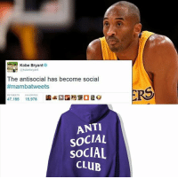 Interesting conspiracy: Kobe was the true person who created- inspired @antisocialsocialclub !😂👀 _____________________________________________________ Lakers Lalakers TeamLakers LonzoBall JordanClarkson JuliusRandle BrandonIngram TheFuture LakersNews LakersGame Kobe KobeBryant BlackMamba Mamba lebronjames Basketball NBA Laker4Life LakersAllDay michaeljordan GOAT LakerNation GoLakers legend @1ngram4 @jordanclarksons @zo @juliusrandle30 @ivicazubac @larrydn7 @kobebryant shaq drake spikelee NBA nbaallstar @mettaworldpeace37: Kobe Bryant  kobebryant  The antisocial has become social  #mambatweets  RS  RETWEETS FAVORITES  47.185  圔岭2国灣堡  15.978  ANTI  SOCIAL  SOCIAL  CLUB Interesting conspiracy: Kobe was the true person who created- inspired @antisocialsocialclub !😂👀 _____________________________________________________ Lakers Lalakers TeamLakers LonzoBall JordanClarkson JuliusRandle BrandonIngram TheFuture LakersNews LakersGame Kobe KobeBryant BlackMamba Mamba lebronjames Basketball NBA Laker4Life LakersAllDay michaeljordan GOAT LakerNation GoLakers legend @1ngram4 @jordanclarksons @zo @juliusrandle30 @ivicazubac @larrydn7 @kobebryant shaq drake spikelee NBA nbaallstar @mettaworldpeace37
