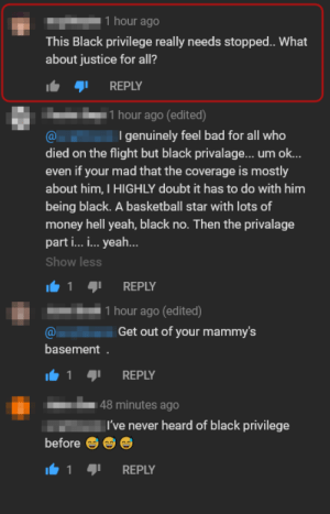 "Kobe Bryant's Death is somehow ""Black Privilege"" it seems. (sorry for repost, misspelled the hell out of the name.): Kobe Bryant's Death is somehow ""Black Privilege"" it seems. (sorry for repost, misspelled the hell out of the name.)"