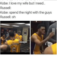 D'Angelo Russell be like...: Kobe: love my wife but l need..  Russell  Kobe: spend the night with the guys  Russell: oh  ONBAMEMES D'Angelo Russell be like...