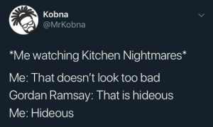 too bad: Kobna  @MrKobna  Me watching Kitchen Nightmares  Me: That doesn't look too bad  Gordan Ramsay: That is hideous  Me: Hideous  >