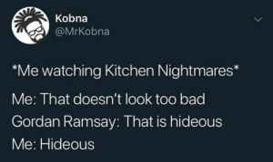 blacktwittercomedy:  Best Of Black Twitter: Kobna  @MrKobna  *Me watching Kitchen Nightmares*  Me: That doesn't look too bad  Gordan Ramsay: That is hideous  Me: Hideous blacktwittercomedy:  Best Of Black Twitter