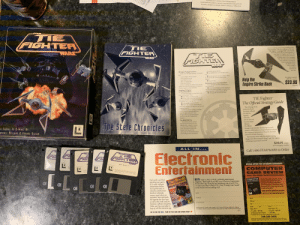 """I just ran across this in my mother's attic and thought I'd share. It's my old TIE fighter game with all the original box contents (I think): KOENSAYR Y-WING FIGHTER/BOMBER  DODONNAVBLISSEX A WING FIGHTER/INTERCEPTOR  SLAYN & KORPIL B-WING HEAVY ASSAULT FIGHTER  STAR  TIE  FIGHTEA  STAR  WARS  Are you ready fios more hrart-panding action  and encitment? Tale the challenge in the it  TIE Fighter"""" Campaign Disk"""" and brlp the  dark side finish oti the Rebel Alliance If  you liked TIE Figher, youl love the  Cxciting set of lbrand new aiions  available only in the Campwign  Disk. We dam you to try these  new missions, because the  Force is growing withun  the Rebel trops  Thee codd be  the handest  miasions of  your life  FIGHTEA  WARS  FIGHTER  WARS  To read the READ ME file  O Type install from your TIE Fighter dire  TIE Fighter Package Contents  Inside your TIE Fighter package, you should  find  O Use the up /down arrows to select """"Read  the READ ME file from the Main Menu  one Starfighter Pilot's manual  • one Regiutration card  one Reference card  • five 3.5 floppy diaks  • The Stele Chronicles  If you're missing any of these items please  contact LacasArts Entertainment Company's  Product Suppon at (415) 721-333  Installing TIE Fighter  on Your Hard Drive  To install TIE Fighter on a hard drive. first  boot your machine. Then  O Insert """"Disk1 in dnve A or B  O Type a: (or b: if running from dnive B)  then press ENTER You computer will show  the prompt """"A (or """"H>  O Type install and press ENTER  O Follow the on screen instructions to  install and configure TIE Fighter to run on your  TIE Fighter required  IBM PC 144 HD  Help the  Empire Strike Back  options  O Press ENTER  $23.95  Starting Up from Your Hard Drive  Once TIE Fighier has been installed on to  your hard dnve  O From your hard drive prompt, change to  the directury where TIE Fighter is installed (the  default directory is TIE) by ryping ed\tic  O Then type tie and press ENTER  (6331A)  TIE Fighter  The O"""