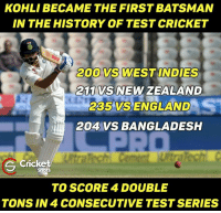 Wow 💟👌: KOHLI BECAME THE FIRST BATSMAN  IN THE HISTORY OF TEST CRICKET  200 VS WEST INDIES  VS NEW ZEALAND  2C5 VSS ENGLAND  204 VS BANGLADESH  e cricket  TO SCORE 4 DOUBLE  TONS IN 4 CONSECUTIVE TEST SERIES Wow 💟👌