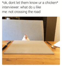 Do U Like Me: kok, dont let them know ur a chicken*  interviewer: What do u like  me: not crossing the road