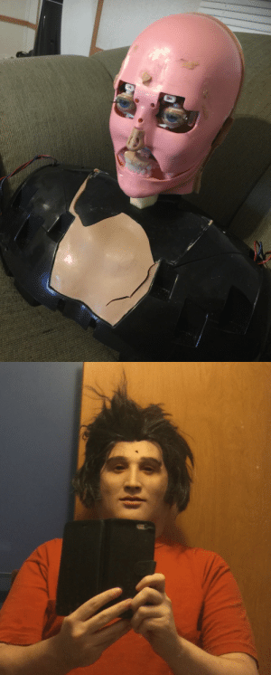 Selfie, Tumblr, and Blog: kokido:Which is creepier, this animatronic Elvis I ripped the face off of while disassembling it, or this selfie with me wearing it's face?
