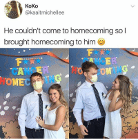 Bad, Memes, and News: KoKo  @kaaitmichellee  He couldn't come to homecoming so l  brought homecoming to him  CANCE  OMEC  5 There's so much bad news out there, and you won't find any of it on @tanksgoodnews Follow immediately for goodnewsonly
