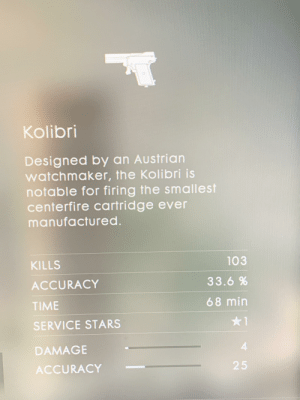Stars, Time, and Austrian: Kolibri  Designed by an Austrian  watchmaker, the Kolibri is  notable for firing the smallest  centerfire cartridge ever  manufactured.  103  KILLS  33.6 %  ACCURACY  68 min  TIME  1  SERVICE STARS  4  DAMAGE  25  ACCURACY I've finally done it