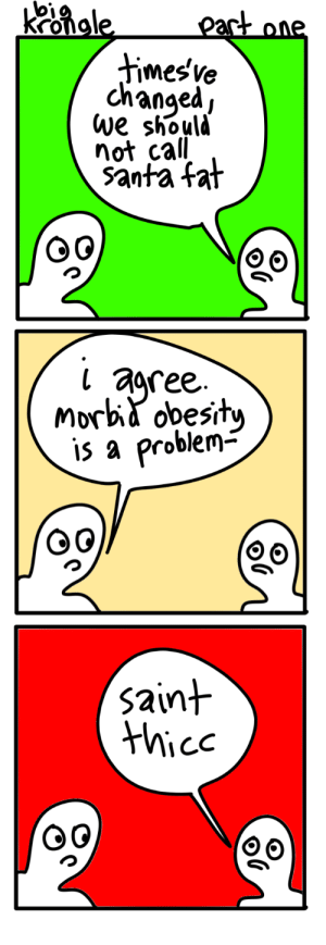 big krongle [OC]: Kongle  part one  timesve  changed,  we should  not call  santa fat  agree.  Morbid obesity  is a problem-  saint  thice big krongle [OC]