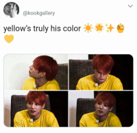Bts, Color, and Bts Jungkook: @kookgallery  yellow's truly his color #bts #jungkook