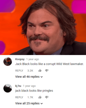 Pringles, Tumblr, and Black: Koopsy 1 year ago  Jack Black looks like a corrupt wild West lawmaker.  REPLY 3.2K  View all 46 replies v  kj hu 1 year ago  jack black looks like pringles  REPLY 1.7K  View all 25 replies v tis-i-the-most-uncooked-fry:  Both are valid 🤠