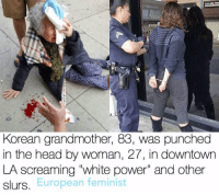 "FEMINISM INCLUDES RACE, GENDER, RELIGION, CLASS, AND ABILITY !!! This is disguisting. follow @europeanfeminist: Korean grandmother, 83, was punched  in the head by woman, 27, in downtown  LA screaming ""white power"" and other  European feminist  slurs. FEMINISM INCLUDES RACE, GENDER, RELIGION, CLASS, AND ABILITY !!! This is disguisting. follow @europeanfeminist"