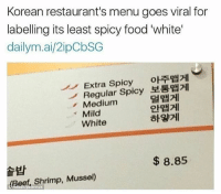 Beef, Beef, and Memes: Korean restaurant's menu goes viral for  labelling its least spicy food 'white'  dailymai/2ipCbSG  Extra Spicy  oHiTRU  Regular Spicy RRH21  Medium  Mild  White  8.85  (Beef, Shrimp, Mussel)  tornok They know what they're on about 😂😂😂😂 it's not even allowed a little tangyness and also includes a spicy milk beverage 👌 Perf