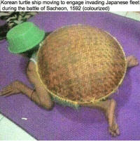 Turtle: Korean turtle ship moving to engage invading Japanese fleet  during the battle of Sacheon, 1592 (colourized)