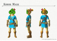 Take a look at concept art for some of the upcoming outfits being added with the upcoming The Legend of Zelda: Breath of the Wild Expansion Pass.: KOROK MASK  Final in-game graphics may vary. Take a look at concept art for some of the upcoming outfits being added with the upcoming The Legend of Zelda: Breath of the Wild Expansion Pass.
