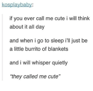 "Cute, Go to Sleep, and Tumblr: kosplaybaby:  if you ever call me cute i will think  about it all day  and when i go to sleep i'll just be  a little burrito of blankets  and i will whisper quietly  ""they called me cute""  51 awesomacious:  *They called me cute*"