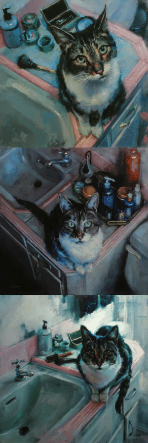 redlipstickresurrected: Lindsey Kustusch (American, b. Warrenville, IL, USA, based San Francisco, CA, USA) - 1: The Sink, 2015  2: It's Fine, I'll Wait, 2015  3: Here If You Need Me, 2015, Paintings: Oil on Panel: -Kostig tHt redlipstickresurrected: Lindsey Kustusch (American, b. Warrenville, IL, USA, based San Francisco, CA, USA) - 1: The Sink, 2015  2: It's Fine, I'll Wait, 2015  3: Here If You Need Me, 2015, Paintings: Oil on Panel