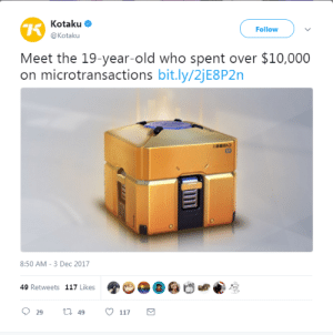 "Children, Christmas, and Dude: Kotaku  @Kotaku  Follow  Meet the 19-year-old who spent over $10,000  on microtransactions bit.ly/2jE8P2n  8:50 AM-3 Dec 2017  49 Retweets 117 Likes  29  t 49 117 asynca: tallerthanatitan:  punished-rainy-days: Remember what I was saying before about how microtransactions are geared specifically to exploit addicts and ""If you don't like it don't buy it"" isn't an argument? @asynca   Thank you for @-ing me.  For those of you who don't know, I'm a specialist problem gambling financial counsellor. This means that I'm specially trained, qualified and experienced in aiding the rehabilitation of people struggling with problem gambling, and working with people who are affected by others' problem gambling protect themselves and rebuild their lives. I spend 30% of the hours of my day job working with these people.  I'm going to make a very bold statement: micro-transactions with a 'chance' element are gambling. They are what is called an 'embedded gambling element' in a game. They may be a 'softer' form of gambling than sitting at a poker machine, but they are gambling. They normalise gambling to children (which has been shown to lead to problem gambling). They groom future problem gamblers, and they exploit people who have neurochemical imbalances (ie, depression). There is a very, very strong link between gambling and mental illness.  People who gamble in games are more likely to susceptible to current and future gambling problems. I'm going to focus on lootboxes in Overwatch, because it's the game I know the most about. I also know a lot about how poker machines are psychologically designed to be highly addictive, specifically exploiting known psychological triggers to reel people in and keep them spending.  Poker machines 'tease' you with near wins which provide you with the same adrenaline and dopamine release as an actual win.  Overwatch lootboxes do the same - you know that feel of seeing a purple/gold coin flipping in the air??? OMG! Is it going to be THAT THING YOU REALLY!!!!-oh.  Bright colours, exciting lights, the visceral feel of pushing the button/spinning the wheel is important to addiction. Blizzard has does the same with lootboxes - by vibrating your controller. By shaking the camera. By having the lootbox rATTLE AND EXPLODE!!!! with your reward. The sounds and specially engineered to build excitement and tensions and remind you of wealth. The 'coin' system of the lootbox reminds you of wealth. This is all super deliberate - it's not a mistake. Using subconscious cues like exploding money boxes!!! the sound of money, the shape of money - that's likening the process to a lottery.  While it's quite unlikely someone could actually spend ENORMOUS amounts of money chasing that 'jackpot' (the skin they really want for their character, for example), it is possible. HOWEVER, it's much more likely that the person will have this sort of reward system normalised, will find the element of chance 'exciting' (because, dude, we're psychologically engineered to be more interested in 'chance' events than certain/impossible events), and seek out and enjoy other similar passtimes. Like actual gambling with real money.  Every time you gamble, you change the structure of your brain. I'm not exaggerating. Every time you take a chance on that lootbox, you flood your brain with adrenaline and dopamine. The presence of those two neurochemicals changes the density of the receptors of them minutely. After a few boxes, it's unlikely you'll become addicted. However, if you keep doing it, your receptors change density so that you need more adrenaline and more dopamine to get the same excitement and pleasure from the hit.  Worse, this rush of adrenaline and dopamine is much, much more addictive to people with mental illness (or a susceptibility to mental illness), as the presence of these chemicals is a very unhealthy (but unfortunately effective, at least in the extremely short term) way of medicating mental illness. Unfortunately, because of the escalating changes in receptor density, it eventually makes mental illness much worse in the long run. There is a strong link between gambling and suicide.  Compare your first lootbox with the lootboxes you get now. Are you getting the same enjoyment? Nope.  Think how many times you bought 11 lootboxes…. only to buy another 11 and another 11 and another 11. It becomes mechanical, pressing that button, opening another lootbox. Kind of like sitting at a poker machine.  Think about how normal the lootbox system seems now.  Chance-based gambling reward systems in games are dangerous, and should be replaced either by work-and-reward systems (you get 10 credits per level, and you can spend these on rewards of your choice), combined with micro-transaction-based currency for people who do not have the time to commit to leveling 300 times for that epic Christmas skin.  Remove chance. Just remove it."