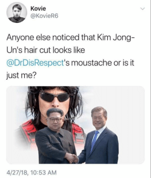 Supreme, Hair, and Kim: Kovie  @KovieR6  Anyone else noticed that Kim Jong-  Un's hair cut looks like  @DrDisRespect's moustache or is it  just me?  4/27/18, 10:53 AM Supreme leader smashin (i.redd.it)