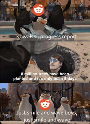 At this rate we will hit 50 million trees by the end of the year: Kowalski, progress report  8 million trees have been  planted and it's only been 5 days  Just smile and wave boys,  just smile and wave At this rate we will hit 50 million trees by the end of the year