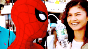 Spider, SpiderMan, and Target: kpfun: Spider-Man taking a drink on set It's an interesting contraption, to say the least. Basically, my eyes in my mask, they clip off. They come off, 'cause they're glass, and obviously, the suit is fabric, and they need to clip in. And what I can do is I can take my left one out, and there's a little thing I pull out, and then I put a tube, a squeezy tube, down into my mouth, and then I can drink from a bottle. —Tom Holland